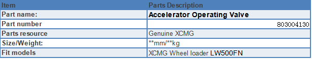 Accelerator Operating Valve specification