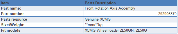 Front Rotation Axis Accembly specification