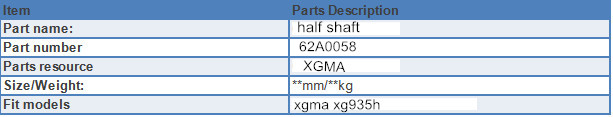Half Shaft specification